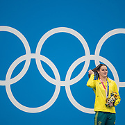 TOKYO, JAPAN - JULY 27: Kaylee McKeown of Australia on the podium with her gold medal after winning the Swimming Finals at the Tokyo Aquatic Centre at the Tokyo 2020 Summer Olympic Games on July 27, 2021 in Tokyo, Japan. (Photo by Tim Clayton/Corbis via Getty Images)