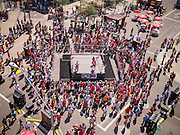 16 SEPTEMBER 2012 - PHOENIX, AZ: Lucha Libre wrestlers PEQUENO HALLOWEEN and CHI CHI square off for an exhibition match on Hispanic Heritage Day in Phoenix. The Arizona Diamondbacks hosted their 14th Annual Hispanic Heritage Day, Sunday to kick off Hispanic Heritage Month (Sept. 15-Oct. 15) before the 1:10 p.m. game between the D-backs and San Francisco Giants. The main attraction of the Day was three Lucha Libre USA exhibition wrestling matches in front of Chase Field stadium before the game.   PHOTO BY JACK KURTZ