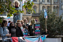 London, UK. 21st October, 2021. Transgender Action Block activists and supporters protest outside the first annual conference of the LGB Alliance at the Queen Elizabeth II Centre. Many LGBT+ activists and advocacy groups are opposed to the LGB Alliance, a government-registered charity, which they consider to be a divisive anti-trans campaign group.