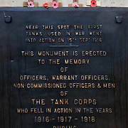 The Tank Memorial at Pozieres. It was from this point on the 5th September 1916 that three tanks set off on the first day they were ever used as a weapon of war<br /> The Battle of Pozières was a two week struggle (23 July – 7 August 1916) by British and Australian divisions for the capture of the village of Pozieres during  the 1916 battle of the Somme.