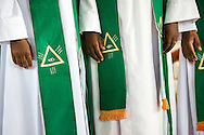New pastors wear queue following ordination on Sunday, March 15, 2015, at the Evangelical Lutheran Church in Tanzania – South-East of Lake Victoria Diocese's (ELCT-SELVD) Ebenezer Cathedral in Shinyanga, Tanzania. LCMS Communications/Erik M. Lunsford