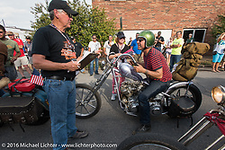 Bill Buckingham riding his 1936 Harley-Davidson Knucklehead model custom chopper (that won top honors at Born Free 6) arrives at check-in at the finish before the hosted Dinner stop on Spanish Street in Cape Girardeau, Missouri during Stage 5 of the Motorcycle Cannonball Cross-Country Endurance Run, which on this day ran from Clarksville, TN to Cape Girardeau, MO., USA. Tuesday, September 9, 2014.  Photography ©2014 Michael Lichter.