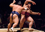 Chiyotaikai pushes out Kisenosato in the third round of Day 1 of Grand Sumo Tournament Los Angeles 2008, Los Angeles Sports Arena, Los Angeles, California