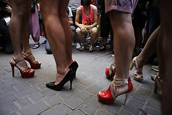 July 5, 2018 - Madrid, Madrid, Spain - Participants are seen all dressed in high heels before racing..The high heels race is one of the activities that toke place during the LGBT gay pride festivals in the Chueca neighborhood, Madrid. (Credit Image: © Mario Roldan/SOPA Images via ZUMA Wire)