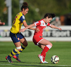Arsenal Ladies' Jade Bailey marks Bristol Academy's Angharad James - Photo mandatory by-line: Paul Knight/JMP - Mobile: 07966 386802 - 09/05/2015 - SPORT - Football - Bristol - Stoke Gifford Stadium - Bristol Academy Women v Arsenal Ladies FC - FA Women's Super League