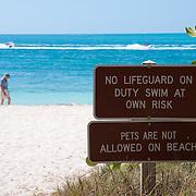 Signs on Zachary Taylor Beach, Key West, Florida