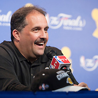 09 june 2009: Stan Van Gundy, coach of the Orlando Magic, is seen during a press conference after game 4 of the 2009 NBA Finals won 99-91 by the Los Angeles Lakers over the Orlando Magic at Amway Arena, in Orlando, Florida, USA.