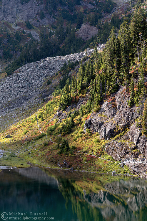 View of Bagley Lakes and the Chain Lakes Trail below Mount Herman.  Once the Chain Lakes Trail passes through the talus slope, it weaves up hill to the Herman Saddle and beyond to the Galena Chain Lakes.  Photographed from the Fire and Ice Trail in the Mount Baker-Snoqualmie National Forest in Washington State, USA.