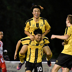 BRISBANE, AUSTRALIA - APRIL 13: Donggyu Lee of Moreton Bay Jets celebrates scoring a goal  during the NPL Queensland Senior Men's Round 4 match between Olympic FC and Moreton Bay Jets at Goodwin Park on April 13, 2017 in Brisbane, Australia. (Photo by Patrick Kearney/Olympic FC)