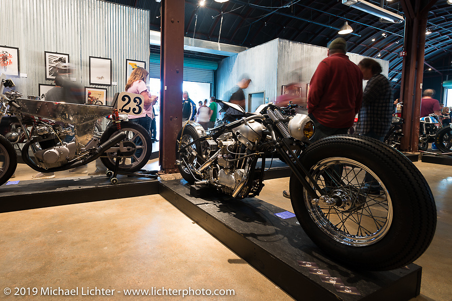 The Iron Panther by Bowman Motorcycles Frankie Bowman (St. Petersburg, FL) custom Harley-Davidson Ironhead Sportster on Saturday at the Handbuilt Motorcycle Show. Austin, TX. April 11, 2015.  Photography ©2015 Michael Lichter.