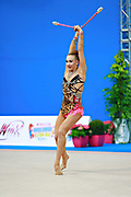 Bezzoubenko Patricia during qualifying at clubs in Pesaro World Cup 11 April 2015.<br /> Patricia was born on 21 February, 1997 a retired individual Canadian rhythmic gymnast.
