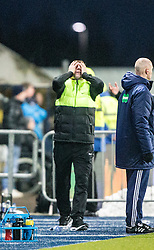 Hibernian's manager Alan Stubbs after their late penalty claim, <br /> Falkirk 1 v 1 Hibernian, Scottish Championship game played 17/1/2015 at The Falkirk Stadium.