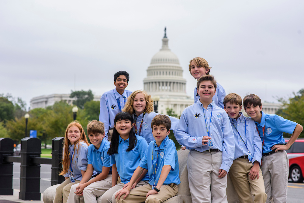 Washington, D.C. - October 07, 2016: Members of the Hyperbolics pose for a portrait in front of the U.S. Capital Friday October 7, 2016. Members are (front row, L-R) Emma Turgeon, Doug Landrum, Claire Meng, Matthew Smith, Max Hovious, Christian Thayer, and Elliot Turner,   (back row, L-R) Rohit Rajagopalan, Lily Brown, and Roger Brown.<br /> <br /> <br /> The Hyperbolics are a First Lego League team based out of Sterling School in Greenville SC, who made a trip to DC ask government officials to ban lead wheel weights Friday October 7, 2016.<br /> <br /> <br /> CREDIT: Matt Roth for Earthjustice
