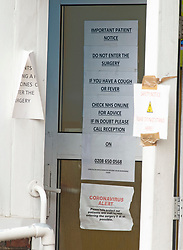 ©Licensed to London News Pictures 29/09/2020  <br /> Beckenham, UK. Signs on the door. People over the age of sixty five are queuing outside a doctors practice in  Beckenham, South London this morning for their pre booked winter flu vaccination. Every person has to have a temperature check before they go into the surgery. Photo credit:Grant Falvey/LNP