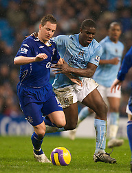MANCHESTER, ENGLAND - Monday, February 25, 2008: Everton's Philip Jagielka and Manchester City's Micah Richards during the Premiership match at the City of Manchester Stadium. (Photo by David Rawcliffe/Propaganda)