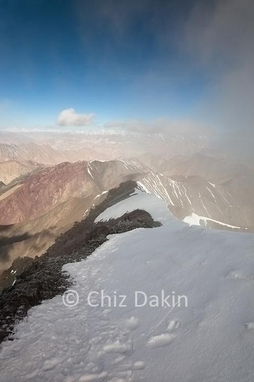 Looking back along the summit ridge of Stok Kangri, 6125m, Ladakh