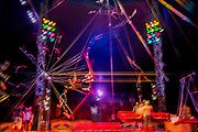 Didyk Troupe acrobatics rehearse on Europe's only double Russian swings - Moscow State Circus returns to London with it's latest show GOSTINITSA in a centrally heated theatre style Big Top on Hampstead Heath. They will be there from Wed 27th Sept to Sun 1st Oct.