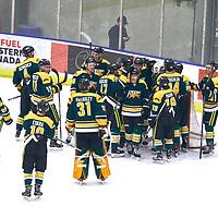 Celebrations during the Men's Hockey Home Game on Sat Jan 19 at Co-operators Center. Credit: Arthur Ward/Arthur Images