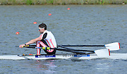 Reading. United Kingdom.  GBR LM1X, Jamie KIRKWOOD, in the opening strokes of the morning time trial. 2014 Senior GB Rowing Trails, Redgrave and Pinsent Rowing Lake. Caversham.<br /> <br /> 10:09:59  Saturday  19/04/2014<br /> <br />  [Mandatory Credit: Peter Spurrier/Intersport<br /> Images]
