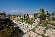 Picture of St Philip Gate ruins.  Hierapolis archaeological site near Pamukkale in Turkey.<br /> <br /> The St. Philip Gate <br /> The gate is situated on the north-eastern side of the defensive walls built under the Emperor Theodosius in the late 4th century. Its importance is indicated by the presence of the two towers that flank the opening The gate was used by pilgrims heading for the summit of the hill on which stood the sanctuary of St. Philip, one of the twelve apostles of Christ. According to tradition the Saint was martyred in Hierapolis. .<br /> <br /> If you prefer to buy from our ALAMY PHOTO LIBRARY  Collection visit : https://www.alamy.com/portfolio/paul-williams-funkystock/pamukkale-hierapolis-turkey.html<br /> <br /> Visit our TURKEY PHOTO COLLECTIONS for more photos to download or buy as wall art prints https://funkystock.photoshelter.com/gallery-collection/3f-Pictures-of-Turkey-Turkey-Photos-Images-Fotos/C0000U.hJWkZxAbg .<br /> <br /> If you prefer to buy from our ALAMY PHOTO LIBRARY  Collection visit : https://www.alamy.com/portfolio/paul-williams-funkystock/pamukkale-hierapolis-turkey.html<br /> <br /> Visit our TURKEY PHOTO COLLECTIONS for more photos to download or buy as wall art prints https://funkystock.photoshelter.com/gallery-collection/3f-Pictures-of-Turkey-Turkey-Photos-Images-Fotos/C0000U.hJWkZxAbg