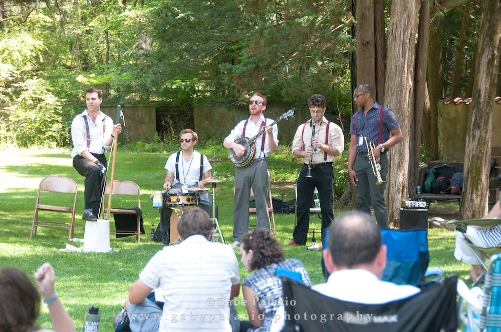 Roosevelt Dime performing in the Sunken Garden set at the American Roots Music Festival at Caramoor in Katonah New York.photo by Gabe Palacio