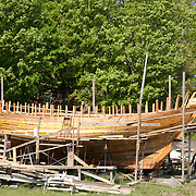 The Schooner Ardelle being built by Harold Burham, a member of the 11th generation of his family to build wooden boats in Essex, MA