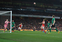 11 March 2017 - The FA Cup - (Sixth Round) - Arsenal v Lincoln City - Kieran Gibbs of Arsenal heads over the crossbar from close range - Photo: Marc Atkins / Offside.