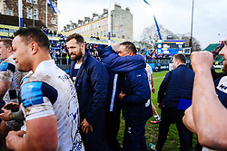 Chairman Chris Booy hugs Bristol Bears director of rugby Pat Lam after Bristol Bears win 13-19 - Rogan/JMP - 01/03/2020 - RUGBY UNION - The Recreation Ground - Bath, England - Bath Rugby v Bristol Bears - Gallagher Premiership Rugby.