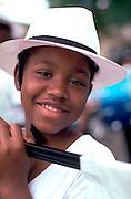 Boy age 11 holding banner at Rondo Days celebration.  St Paul  Minnesota USA