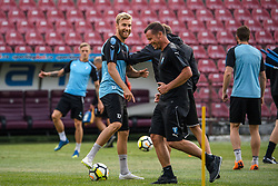 July 23, 2018 - Cluj, Romania - i180723 Rasmus Bengtsson and Manager Daniel Andersson of MalmÅ¡ FF during a practice ahead the UEFA Champions League qualifying match between Cluj and MalmÅ¡ FF on July 23, 2018 in Cluj..Photo: Ludvig Thunman / BILDBYRN / kod LT / 35508 (Credit Image: © Ludvig Thunman/Bildbyran via ZUMA Press)