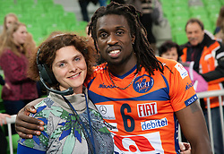 Lucija Valencak and Mory Sidibe of ACH after the volleyball match between ACH Volley Ljubljana and Bre Banca Lannutti Cuneo (ITA) in Playoff 12 game of CEV Champions League 2012/13 on January 15, 2013 in Arena Stozice, Ljubljana, Slovenia. (Photo By Vid Ponikvar / Sportida.com)