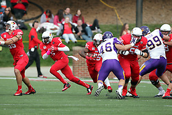 03 October 2015:  Ryan Gelber(56) gets face masked by Jared Farley(46) as Marshaun Coprich(25) sprints out of the backfield. NCAA FCS Football between Northern Iowa Panthers and Illinois State Redbirds at Hancock Stadium in Normal IL (Photo by Alan Look)