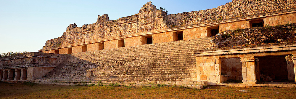 MEXICO, MAYAN CULTURE, YUCATAN PEN. Uxmal; the north facade of the Nunnery Quadrangle, with giant 'Chac' masks (rain god) reliefs