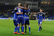 Cardiff city players celebrate after George Friend (not pictured) ) of Middlesbrough scores an own goal to put Cardiff city 1-0 up with just 1 minute of normal time left. . Skybet football league championship match, Cardiff city v Middlesbrough at the Cardiff city Stadium in Cardiff, South Wales  on Tuesday 20th October 2015.<br /> pic by  Andrew Orchard, Andrew Orchard sports photography.