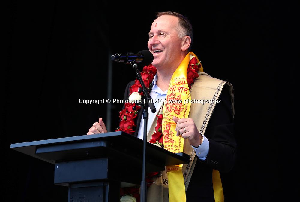 Prime Minister John Key opens the Diwali Festival, Auckland, New Zealand. Saturday 15 October 2016. © Copyright Image: Ben Campbell / www.photosport.nz