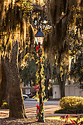 Christmas decorations on gas lamps in Orleans Square Savannah, GA.
