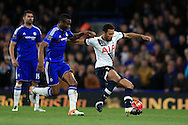 Mousa Dembele of Tottenham Hotspur goes past Mikel of Chelsea. Barclays Premier league match, Chelsea v Tottenham Hotspur at Stamford Bridge in London on Monday 2nd May 2016.<br /> pic by Andrew Orchard, Andrew Orchard sports photography.
