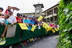 May 29, 2019 - Dublin, OH, U.S. - DUBLIN, OH - MAY 29: PGA fans line the walkway to the clubhouse while waiting for Tiger Woods (not pictured) and former NFL quarterback Peyton Manning (not pictured) during the Pro-Am of the Memorial Tournament presented by Nationwide at Muirfield Village Golf Club on May 30, 2018 in Dublin, Ohio. (Photo by Adam Lacy/Icon Sportswire) (Credit Image: © Adam Lacy/Icon SMI via ZUMA Press)