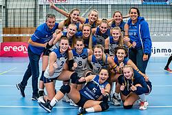 The winning team Sliedrecht Sport after the league match Sliedrecht Sport vs. Booleans VV Utrecht on october 16, 2021 in sporthal De Basis, Sliedrecht