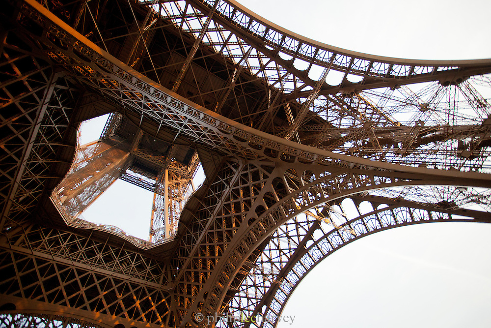 Underneath the Eiffel Tower, the iconic landmark in Paris, France