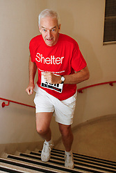 © Licensed to London News Pictures. 01/03/2012. LONDON, UK. Broadcaster Jon Snow races up the 920 steps of Tower 42 at Shelter's Vertical Rush, the UK's biggest tower running event in the City of London.  Today (01/03/12) a host of celebrities joined 1,200 people to run up the 920 steps of Tower 42, raising £250,000 for housing charity Shelter. Now in its fourth year, the award-winning Vertical Rush will once again take place at London's original skyscraper, Tower 42 Photo credit: Matt Cetti-Roberts/LNP© Licensed to London News Pictures. 01/03/2012. LONDON, UK. CAPTION HERE. Photo credit: Matt Cetti-Roberts/LNP