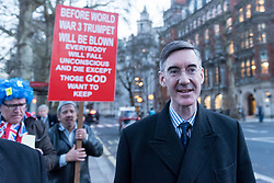 © Licensed to London News Pictures. 11/12/2018. LONDON, UK. Pro-Brexiteer Jacob Rees-Mogg, MP for North East Somerset, is seen in Westminster. Theresa May, Prime Minister, is touring European capitals to try to renegotiate the Brexit agreement with the European Union after today's meaningful vote by MP's was deferred.  Photo credit: Stephen Chung/LNP