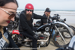 Kissa Von Addams, Jim Root from the band Slipknot and Bill Dodge on the beach Daytona Bike Week 75th Anniversary event. FL, USA. Thursday March 3, 2016.  Photography ©2016 Michael Lichter.