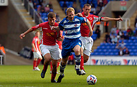 Photo: Alan Crowhurst.<br />Reading v Crewe Alexandra. Coca Cola Championship.<br />17/09/2005. Reading's Brynjar Gunnarsson  (C) is challenges by Billy Jones (L) and Kenny Lunt of Crewe.