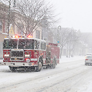 The Wakefield, MA fire department on a call during a heavy January snowstorm.