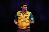 Diogo Portela wins his first leg during the Darts World Championship 2018 at Alexandra Palace, London, United Kingdom on 18 December 2018.