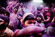 Holi festival, India, on wednesdayday, mar. 11, 2009. people prays to Krishna inside the bankey Bihari tempel
