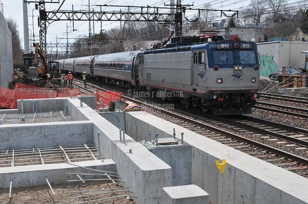 Northbound Amtrak Northeast Regional Train. Taken during Construction Progress Photography of the Railroad Station at Fairfield Metro Center - Site visit 9 of once per month Chronological Documentation.