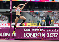 Athletics - 2017 IAAF London World Athletics Championships - Day Two (AM Session)<br /> <br /> Event: High Jump Women - Heptathlon<br /> <br /> Ivona Dadic (AUT) leaps towards the bar as she prepares to clear <br /> <br /> COLORSPORT/DANIEL BEARHAM
