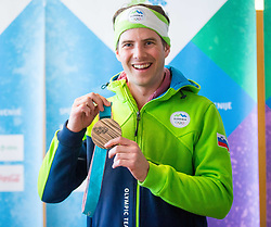 Zan Kosir during Arrival of Zan Kosir, Bronze medalist at Olympic Games in Pyeongchang 2018, on February 26, 2018 in Aerodrom Ljubljana, Letalisce Jozeta Pucnika, Kranj, Slovenia. Photo by Ziga Zupan / Sportida